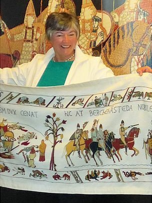 Kate Russell with the Alderney Bayeux Tapestry