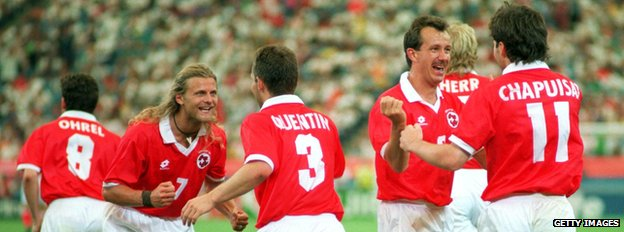 Swiss team v Romania June 1994 (file pic)