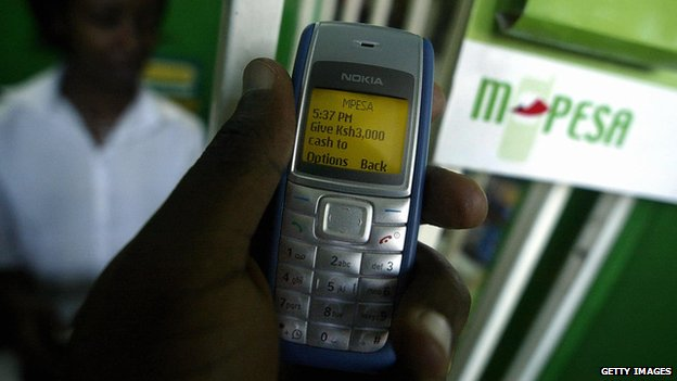 Phone showing M-Pesa payment