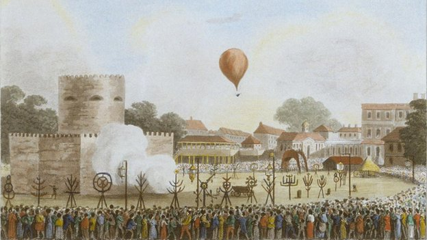 James Sadler's son John ascends in his father's balloon on 1 August 1814