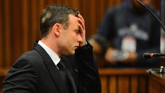Oscar Pistorius listens to evidence in the Pretoria High Court on June 30, 2014, in Pretoria, South Africa