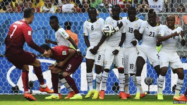 Portugal's Cristiano Ronaldo (L) takes a free kick during the 2014 World Cup Group G soccer match against Ghana at the Brasilia national stadium in Brasilia on 26 June 2014