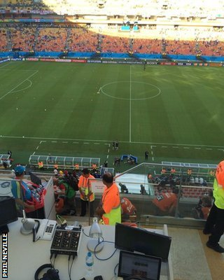 Phil Neville's view from his co-commentary position at England v Italy