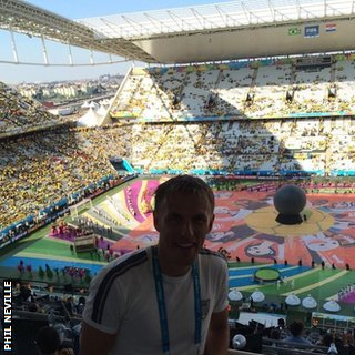 Phil Neville at the World Cup opening ceremony in Sao Paulo, ahead of Brazil versus Croatia