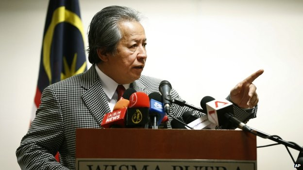 Malaysia's Foreign Minister Anifah Aman speaks during a press conference in Putrajaya, Malaysia, on Tuesday, 1 July 2014.