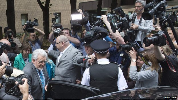 Rolf Harris leaves Southwark Crown Court on Monday after he was found guilty of 12 counts of indecently assaulting four girls