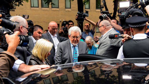 Rolf Harris leaving court