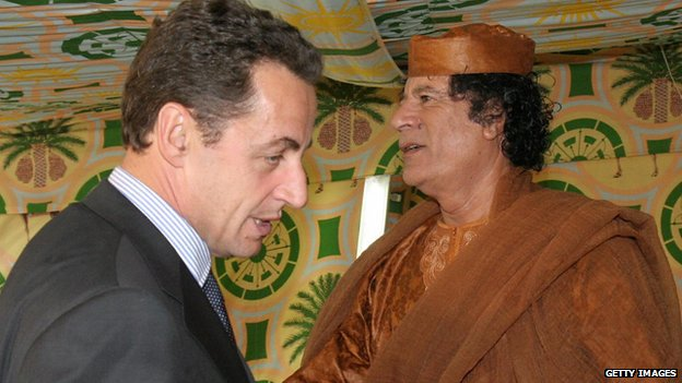 Nicolas Sarkozy with Muammar Gaddafi in Oct 2005 in Tripoli