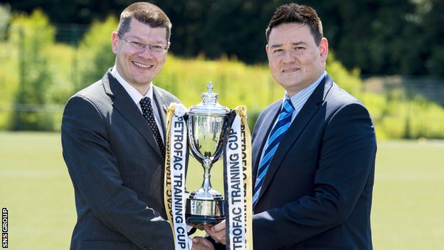 SPFL chief executive Neil Doncaster (left) joins head of business at Petrofac Training Services Laurence Milne