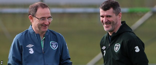 Martin O'Neill and Roy Keane share a joke