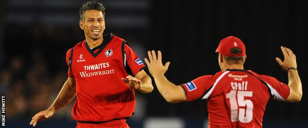 Lancashire bowler Sajid Mahmood celebrates taking Vincent's wicket in one of the games in question