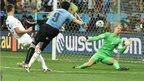 Luis Suarez scores his second goal against England