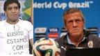 Diego Maradona and Uruguay coach Oscar Tabarez