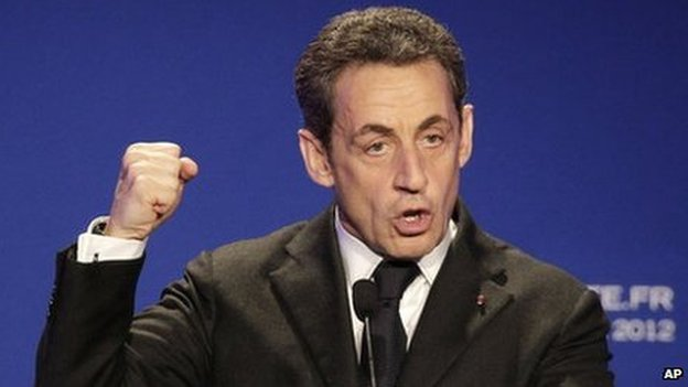 Nicolas Sarkozy speaks in Saint Maurice, outside Paris, 19 April 2012