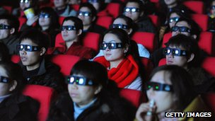 3D glass wearers in a cinema
