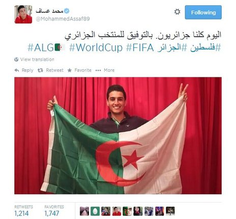 """Today, we are all Algerians. Best of luck to the Algerian team"": a tweet from Palestinian singer Mohammad Assaf,"