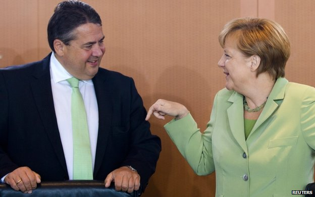 Sigmar Gabriel (Vice Chancellor) with Angela Merkel last month