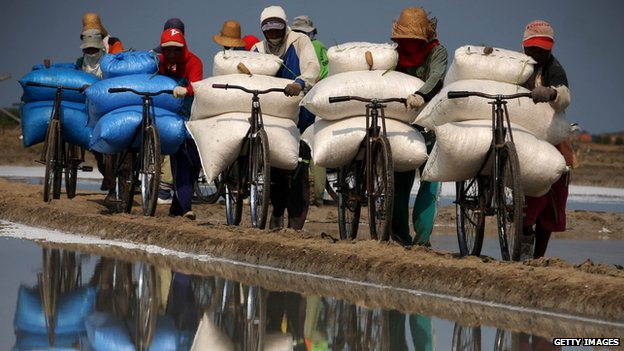 Indonesian salt workers pushing bags of salt on bicycles, reflection in water