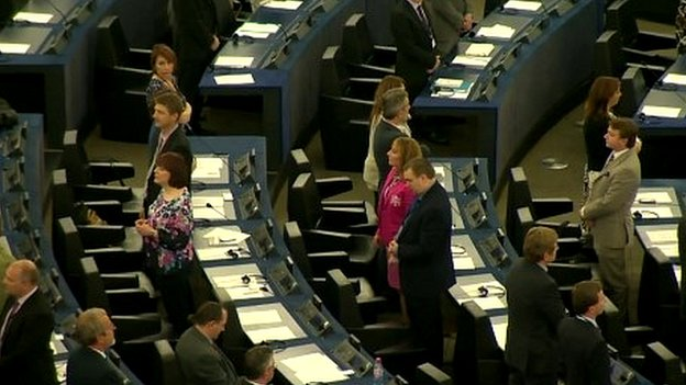 UKIP MEPs stage a protest in Parliament