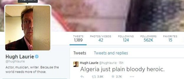 Hugh Laurie's Twitter profile