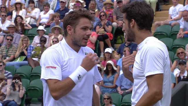 Stanislas Warinka and Feliciano Lopez argue after their match