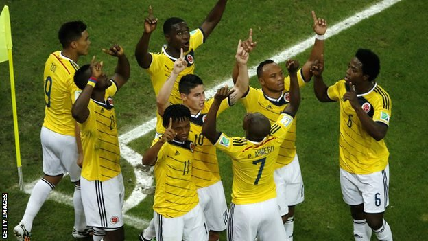 Colombia celebrate scoring against Uruguay on 28 June