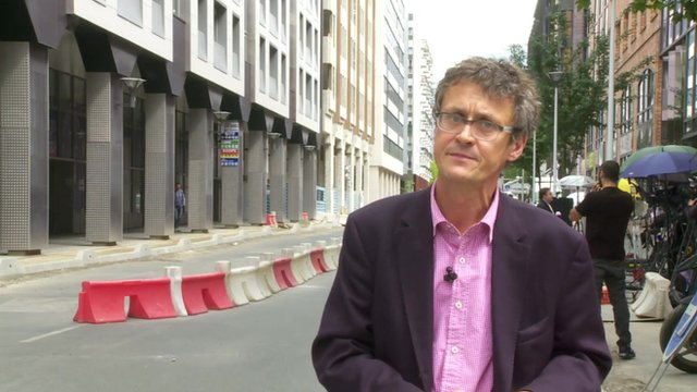 Hugh Schofield outside the anti-corruption police office in Nanterre