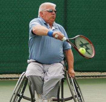 Keith Whiley playing wheelchair tennis