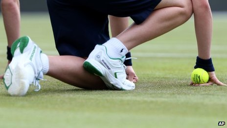 A ball boy at this year's Wimbledon tournament