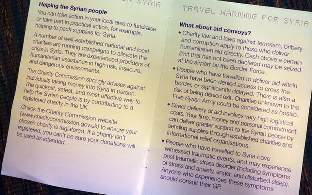 Police leaflet warning against travel to Syria
