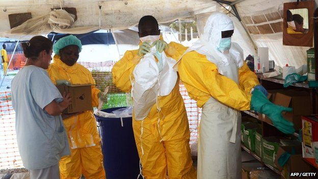 Medical staff at Ebola isolation ward in Conakry, Guinea