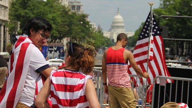 Fans get ready for the US-Belgium match in Washington DC
