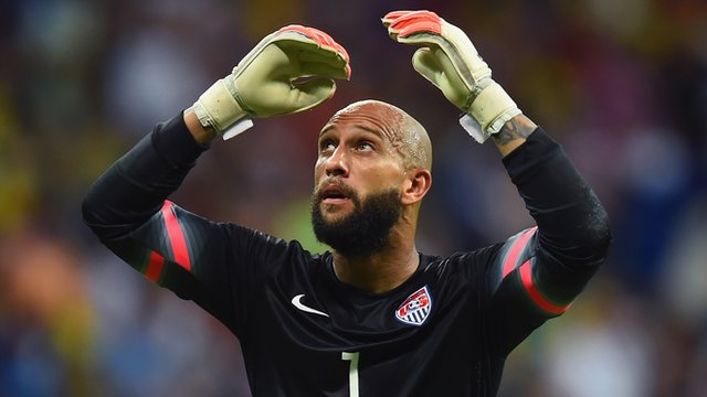 USA keeper Tim Howard breaks the record for the most saves made in a single World Cup game