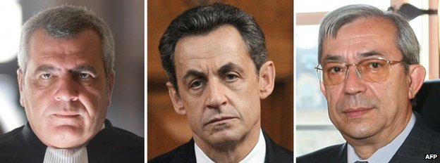 Lawyer Thierry Herzog (l), former President Nicolas Sarkozy (c) and magistrate Gilbert Azibert