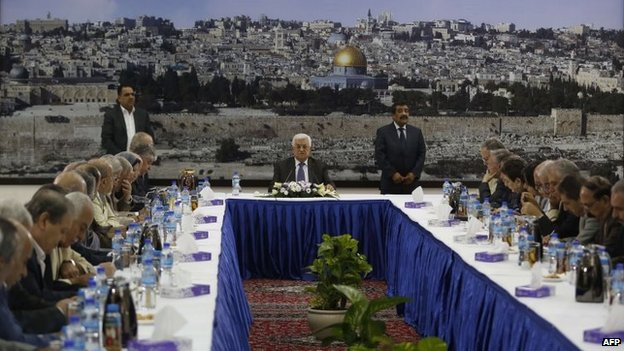 Palestinian president Mahmoud Abbas chairs an emergency meeting with his leadership in the West Bank city of Ramallah on 1 July 2014