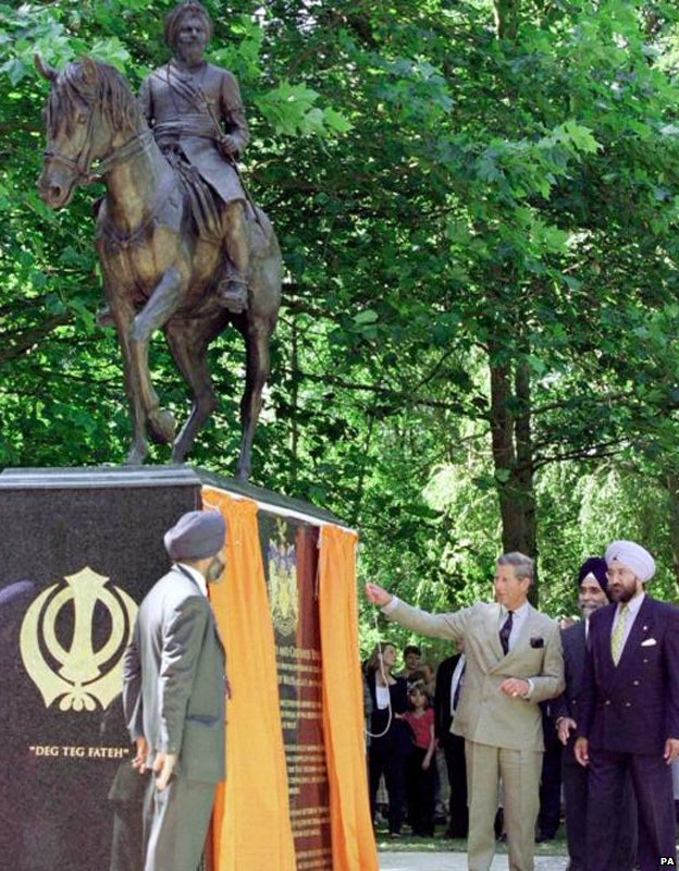 Prince Charles unveils the statue to Duleep Singh at Elveden in Suffolk
