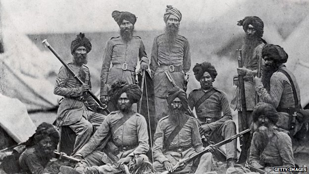 Sikh soldiers in the British 15th Punjab Infantry Regiment in 1858