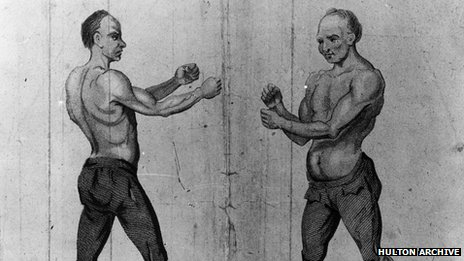 Jack Slack squares up to Jack Broughton in an English bare knuckle championship bout