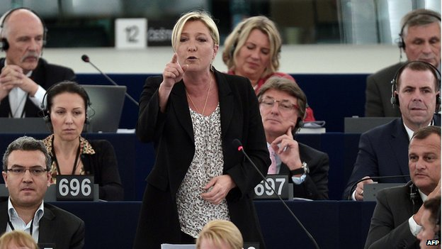 Marine Le Pen (centre), 2 Jul 14