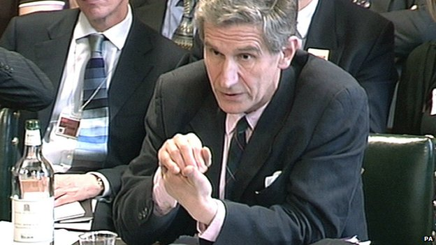 Lord Stevenson facing a Select Committee hearing in April 2013