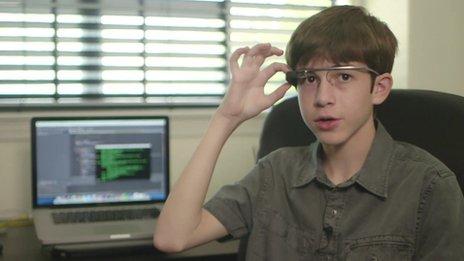 Thomas Suarez with Google glass
