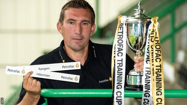 Hibernian manager Alan Stubbs was at the draw at Easter Road
