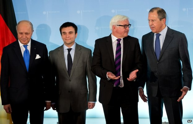 From Left - French Foreign Minister Laurent Fabius, Ukraine's Pavlo Klimkin, Germany's Frank-Walter Steinmeier, and Russia's Sergei Lavrov (2 July)