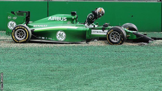 Caterham's Kamui Kobayashi and Williams' Felipe Massa come together and spin out into the gravel