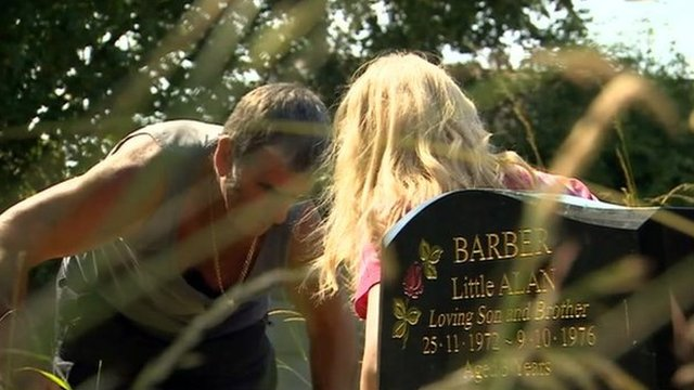 Family digging around grave