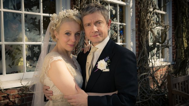 Amanda Abbington and Martin Freeman in Sherlock