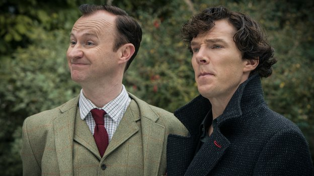 Mark Gatiss and Benedict Cumberbatch in Sherlock