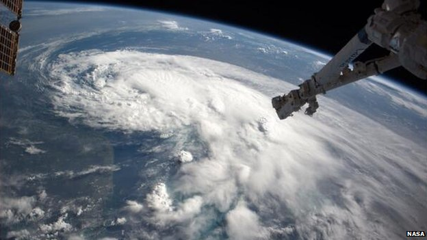 Tropical Storm Arthur is photographed from space by NASA astronaut Reid Wiseman