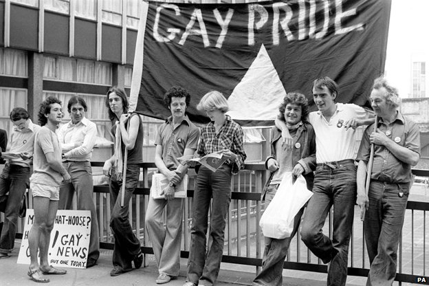 Gay pride demo, 1977