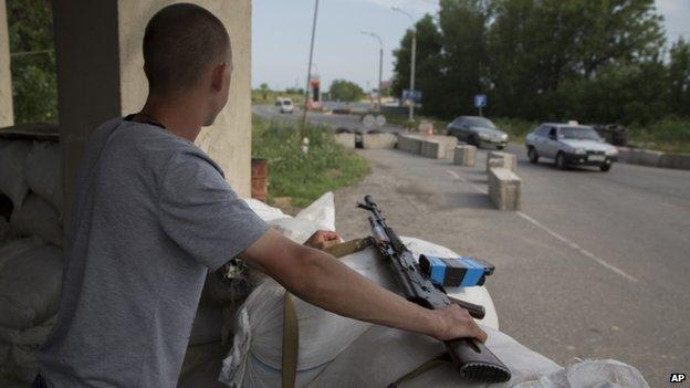 A rebel fighter near Luhansk in eastern Ukraine